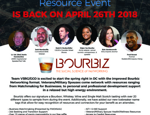 The Networking Line Up is growing! DC Bourbiz (The Veteran/Military Spouse Resource Event) is Back on April 26th 2018 presented by Team VSRG/GCO